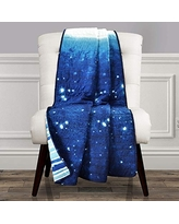 Make A Wish Space Star Ombre Navy & White Reversible Print Throw Blanket