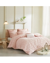 Urban Habitat Brooklyn Comforter Set King/Cal King Size - Pink , Tufted Cotton Chenille Dots – 7 Piece Bed Sets – 100% Cotton Jacquard Teen Bedding For Girls Bedroom