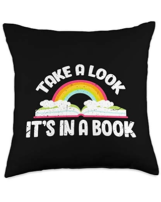 Book Lover Gifts & Reading Apparel Co Take A Look It's In A Book Funny Bookworm Reading Throw Pillow, 18x18, Multicolor