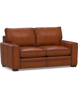"""Pearce Square Arm Leather Sofa 74"""", Down Blend Wrapped Cushions, Burnished Saddle"""