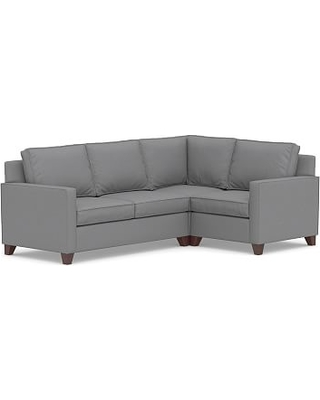 Cameron Square Arm Upholstered Left Arm 3-Piece Corner Sectional, Polyester Wrapped Cushions, Textured Twill Light Gray