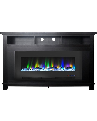 Cambridge San Jose 58 in. Freestanding Electric Fireplace Entertainment Stand, Black with 50 in. Insert and Driftwood Log Display, Dark Coffee