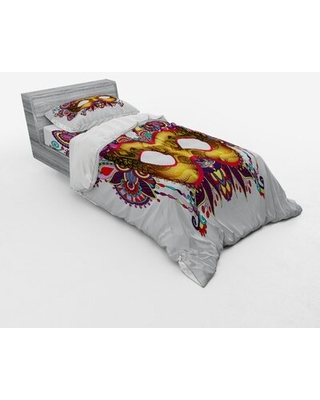 Mardi Gras Duvet Cover Set East Urban Home Size: Queen Duvet Cover + 3 Additional Pieces