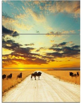 Design Art 'Wildebeests Crossing Path in Evening' 3 Piece Photographic Print on Wrapped Canvas Set PT12512-3PV