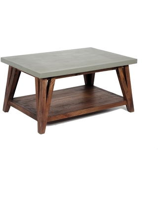 Alaterre Furniture Brookside 36 in. Light Gray Medium Rectangle Stone Coffee Table with Concrete-Coating