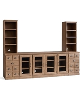 Printeru0027s Large Media Suite With Bookcases (2 Bookcase Peds, 2 Glass Door  Peds,
