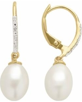 PearLustre by Imperial Freshwater Cultured Pearl & White Topaz 14k Gold Over Silver Drop Earrings, Women's