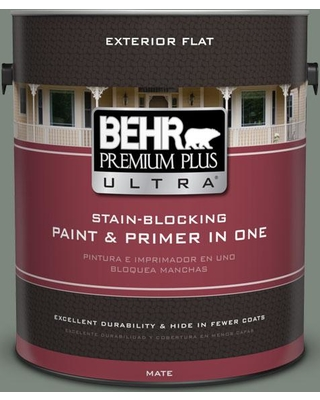 BEHR Premium Plus Ultra 1 gal. #700F-5 Wild Sage Flat Exterior Paint and Primer in One