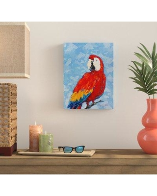 """Bay Isle Home 'Scarlet Macaw' Painting Print on Wrapped Canvas BYIL3874 Size: 40"""" H x 30"""" W x 1.5"""" D"""