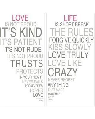 PTM Love is Love Giclee 2 Piece Textual Art in Gray Set 6-2116