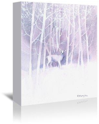 """East Urban Home 'White Deer Frosty Forest' Print EUBM6036 Size: 10"""" H x 8"""" W Format: Wrapped Canvas"""