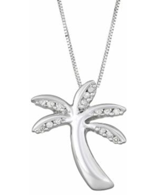 """Sterling Silver Diamond Accent Palm Tree Pendant Necklace, Women's, Size: 18"", White"""