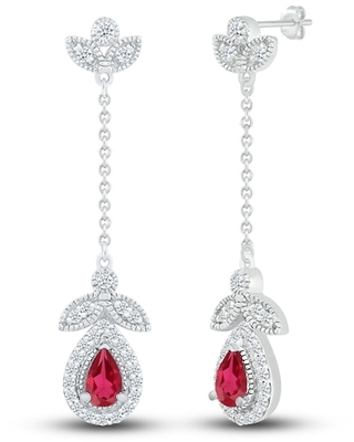 Jared The Galleria Of Jewelry Lab-Created Ruby & Lab-Created Sapphire Earrings Sterling Silver