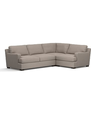 Townsend Square Arm Upholstered Left Arm 3-Piece Corner Sectional, Polyester Wrapped Cushions, Performance Everydayvelvet(TM) Carbon