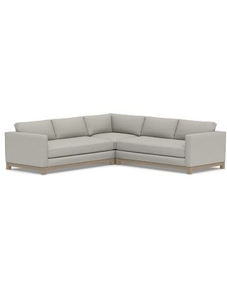 Jake Upholstered 3-Piece L-Shaped Corner Sectional with Wood Legs, Polyester Wrapped Cushions, Performance Boucle Pebble