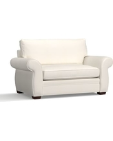 Pearce Upholstered Twin Sleeper Sofa With Robin Mattress, Polyester Wrapped Cushions, Denim Warm White