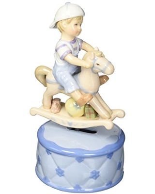 Cosmos 80050 Fine Porcelain Boy with Rocking Horse Musical Figurine, 7-1/8-Inch