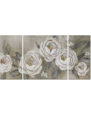 """Wexford Home A Premium 'Cottage Roses' Painting Multi-Piece Image on Canvas 19116-3P Size: 32"""" H x 64"""" W x 1.5"""" D"""