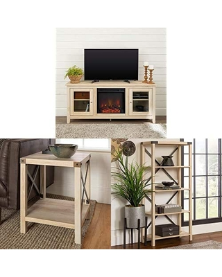 Walker Edison Furniture Company Traditional Wood Fireplace Stand for TV's with Small End Table and Bookcase Bookshelf