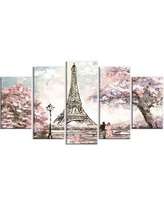 Design Art 'Eiffel with Pink Flowers' Graphic Art Print Multi-Piece Image on Canvas EAOU3647