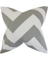 "The Pillow Collection Eir Chevron Cotton Throw Pillow P Color: Gray, Size: 22"" x 22"""