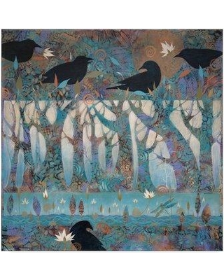 """Winston Porter 'Crows and Waterlilies' Acrylic Painting Print on Wrapped Canvas W000009808 Size: 14"""" H x 14"""" W x 2"""" D"""
