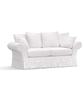 "Charleston Slipcovered Sofa 86"", Polyester Wrapped Cushions, Twill White"