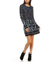White Mark Sandrine Embroidered Sweater Dress, Large , Gray