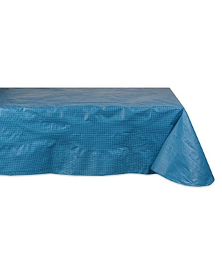 DII Solid Waterproof & Spill Proof Vinyl Tablecloth, 60x84, Blue