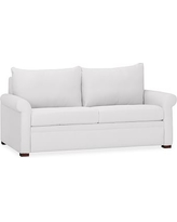 PB Deluxe Upholstered Sleeper Sofa, Polyester Wrapped Cushions, Twill White
