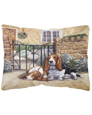 Basset Hound at the gate Fabric Decorative Pillow