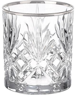 Lorren Home Trends Reagan Collection Crystal Double Old Fashion Beverage Glasses (Set of 4) (Tumblers with Silver Band)