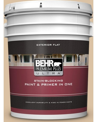 BEHR ULTRA 5 gal. #N280-3 Louvre Flat Exterior Paint and Primer in One
