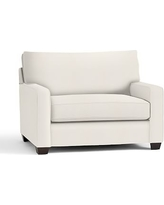 Buchanan Square Arm Upholstered Twin Sleeper Sofa, Polyester Wrapped Cushions, Denim Warm White