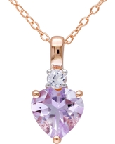 1.65 CT. T.W. Rose de France and .15 CT. T.W. Simulated Sapphire Necklace Pink Rhodium Plated Silver - Purple, Pale Purple