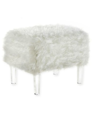 Inspired Home Faux Fur Wayne Ottoman in White