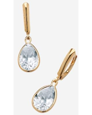 PalmBeach Jewelry Gold over Sterling Silver Drop EarringsPear Cut Simulated Birthstones (April)