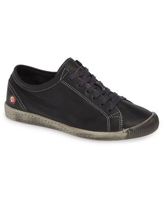 Softinos by Fly London Isla Distressed Sneaker, Size 5.5Us in Black Smooth Leather at Nordstrom