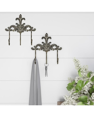 Hastings Home Decorative Hooks-3-Pronged Cast Iron Shabby Chic Rustic Fleur De Lis Wall Mount Hooks for Coats, Hats, Jewelry, and More by Hastings