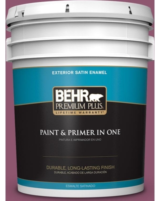BEHR PREMIUM PLUS 5 gal. #PPU1-17 Majestic Orchid Satin Enamel Exterior Paint and Primer in One