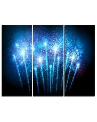 Special Prices On Design Art Blue Fireworks At Night Sky 3 Piece Graphic Art On Wrapped Canvas Set Canvas Fabric In Brown Blue Size Medium 25 32 Wayfair
