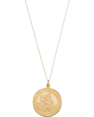 Lily & Roo - Solid Gold Large Round St Christopher Medallion Necklace