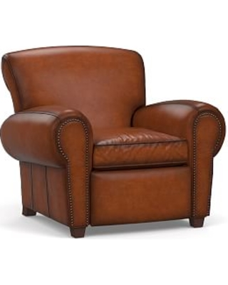 Manhattan Leather Power Tech Recliner with Bronze Nailheads, Polyester Wrapped Cushions, Burnished Saddle