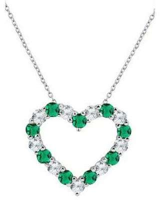 Belk & Co. Silver Created Emerald and White Sapphire Heart Pendant Necklace in Sterling Silver