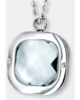 """Polished Clear Crystal Pendant Stainless Steel Necklace - 24"""""""