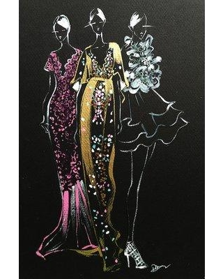 """House of Hampton Inspired Fashion Illustration (Couture Gowns) Painting Print on Wrapped Canvas HOHN7435 Size: 18"""" H x 12"""" W x 1.5"""" D"""
