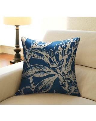 Bay Isle Home Jasiah Coral Botanical Linen Throw Pillow DT180QDP Color: Navy Blue