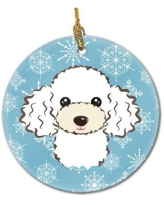 Amazing Sales On The Holiday Aisle Snowflake Poodle Ceramic Hanging Figurine Ornament X111096111 Color Blue White