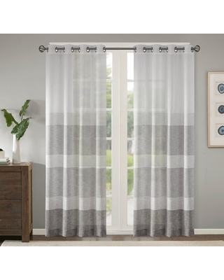 """Woven Faux Linen Striped Sheer Window Panel Gray50x84 - Jacey, Adult Unisex, Size: 50""""x84"""""""