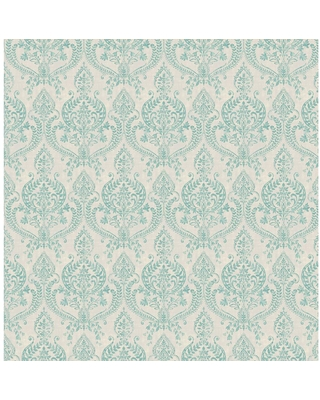 MANHATTAN COMFORT INC Colma, Waverly Turquoise Petite Damask Paper Strippable Wallpaper Roll (Covers 56.4 sq. ft.)